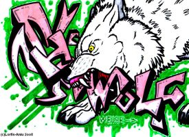SieWolf Graff. ft. White Wolf by Lorfis-Aniu