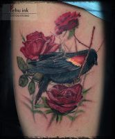 Bird+roses Tattoo by ellegottzi