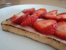 Strawberries on toast. by IAmNotBitter