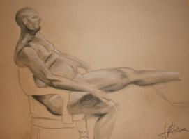 Nude Male Charcoal Study by mrevilrose