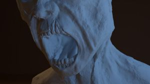 Zombie bust close up by Deviantapplestudios