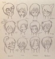 Random SSH Headshot Expressions (Doodle) by AwepicNess70