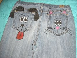 Cat and Dog pockets by FairieChick