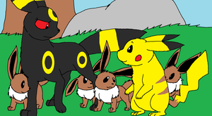 Mother Umbreon and 4 Kits Meet Pikachu by XfangheartX