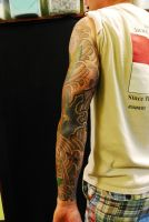 Brown Trout sleeve   back view by newtskewltattoo