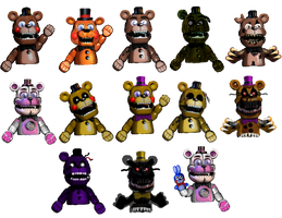 Freddy and Fredbear Puppets by FNaFEditorist50