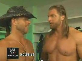 HBK and HHH without shirts by edge4923