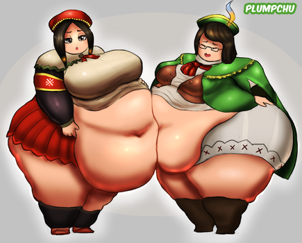Fat Sweetheart and Guildmarm - Monster Hunter WG by Plumpchu