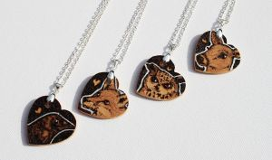 Pyrography Animal Love Heart Pendants by BumbleBeeFairy
