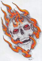 Skull In Flames 3 by vikingtattoo