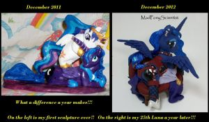 My first and last LUNA sculptures....1 year apart by MadPonyScientist