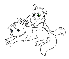 Angel Pup and Lunar Pup (Uncolored) by NyanKittyCat