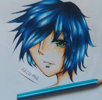Anime Boy Blue by inazumagalaxy