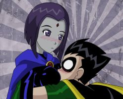 Robin falls on Raven...again by Glee-chan