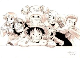 One Piece - Luffy and nakamas by marvelmania
