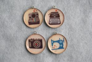 4 Hand-made Artist Charms by MonsterBrandCrafts
