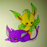 Espeon and Leafeon by ErisConstance