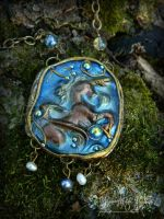 Medieval Unicorn necklace pendant by EMasqueradeGallery
