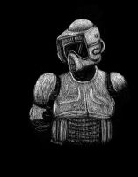 Scout Trooper scratchboard study by Nala15
