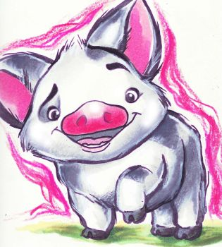 Disney's 'Moana:' Pua the Pig by AlexandraBowmanArt