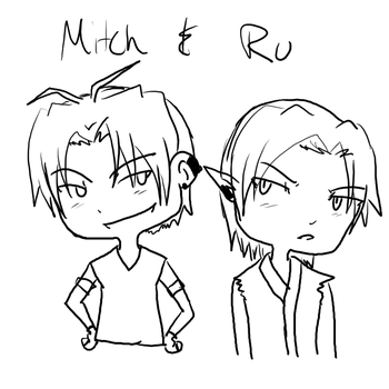 Mitch and RU chibis by Darkfire75