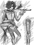sketch-crossover Mettaton and my OC by MomimiED