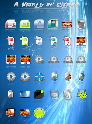 A World of Glass Dock Icons by vista man Iconos para Windows XP