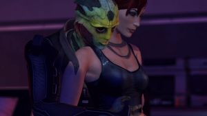 Thane Krios and Jane Shepard by LadyBonk