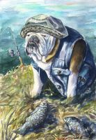 English Bulldog the fisher by GeorgeArt23