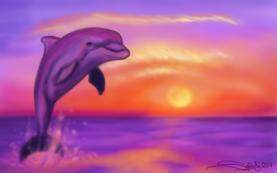 Dolphin in the sunset by Shesvii