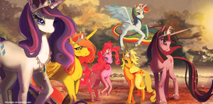 Mane 6 princesses by hinoraito