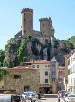 Ariege 024 - Castle of Foix and Town by HermitCrabStock