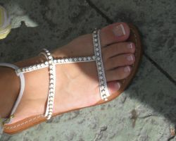 French Pedi in White Sandals by Feetatjoes
