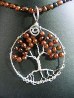 Mahogany obsidian round leaves with silver bar by BacktoEarthCreations