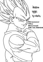 Vegeta SSJ2 Lineart by DranzertheEternal
