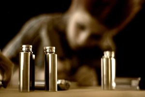 Flasks in a row by photosynthetique