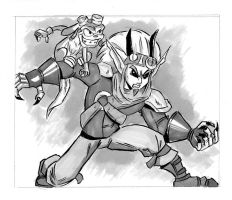 Inktober 14 - Jaaarrrrgggghhhh! and Daxter by Chauvels