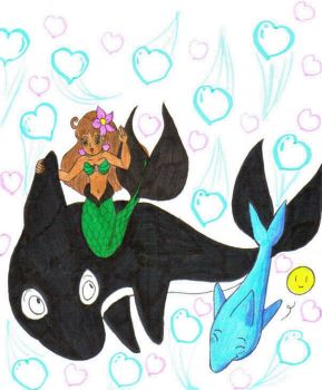 Shawna with Orca and Dolphin by Winter-Colorful