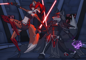 Sith Battle by kitfox-crimson