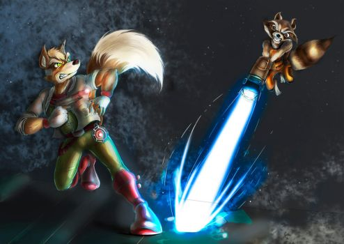 Fox vs Raccoon by Neon-Lady