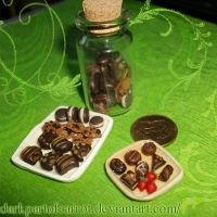 Bottled polymer clay cookies and lots of chocolate by DarkPartOfCarrot