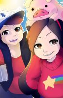 Waddles, Dipper, and Mabel by Leefuu