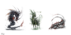 Creature concepts by PeterPrime