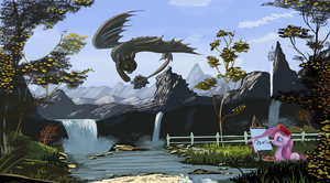 Painting with Pinkie pie~ toothless by Auroriia