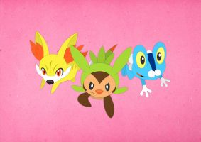 Paper Pokemon X and Y Starters by morganobrienart