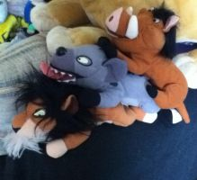 Scar, Pumba and Banzai beanbag plushes - TLK by Gallade007
