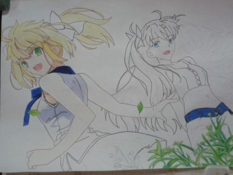 Saber and Rin W.I.P by lucasnava