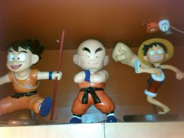 Goku, Krillin and Luffy by thereanimatedunknown