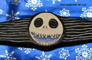 Jack Skellington Leather cuff by CoreyChiev