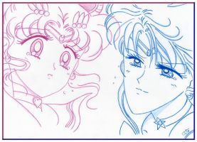 Sailor Moon and Uranus by selinmarsou